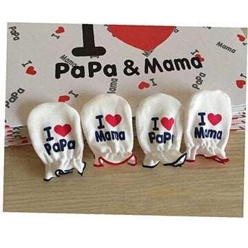 Guantes de algodón bebe con mensaje para papa y mama