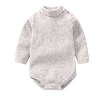 Body de algodón 100% orgánico de cuello alto para bebe en color gris
