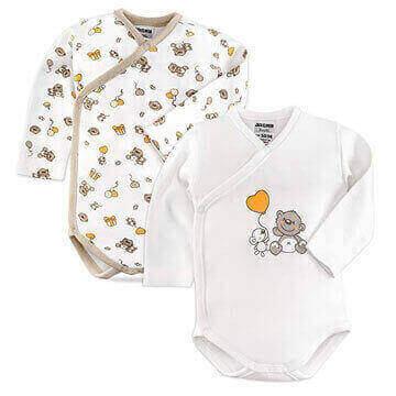 Pack de dos Bodys cruzados para bebe prematuros de algodón 100 con dibujos de ositos
