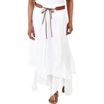 Faldas largas de algodón ibicencas blancas para mujer