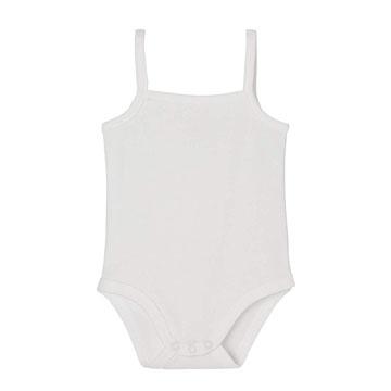 Body blanco con tirantes para bebes recien nacidos sin magas de algodón organico