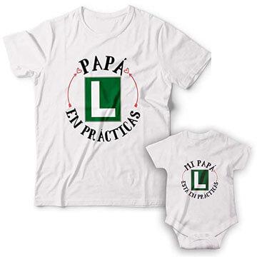 Pack de Camiseta para papa primerizo mas bodys para bebe conjuntados de algodón 100