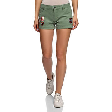 Pantalón short corto de algodón 100% para vestir color verde para mujer
